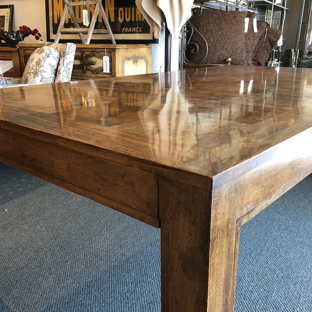 Custom Parquet Extension Dining Table For Sale - Image 9 of 13
