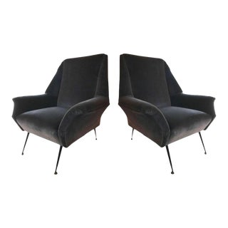 1950s Gigi Radice for Minotti Italian Gray Velvet Armchairs- a Pair For Sale