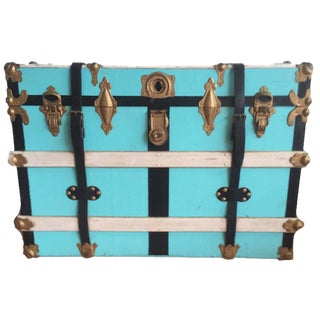 Vintage Leather & Wood Steamer Trunk For Sale