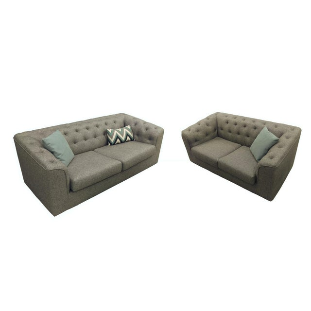 Charcoal Button Back Sofas - A Pair - Image 1 of 5