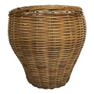 Vintage Coastal Rattan Basket - Large Size For Sale