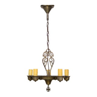 Five Light Tudor Chandelier For Sale