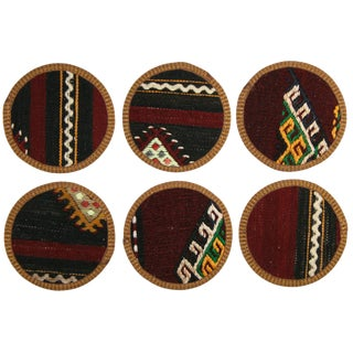 Kilim Coasters Set of 6 - Borçka For Sale