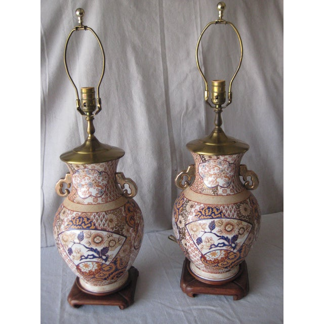 Mid 20th Century Imari Style Lamps on Wood Base - a Pair For Sale - Image 9 of 9