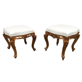 19th C. Italian Gilt Upholstered Vanity Stools - a Pair
