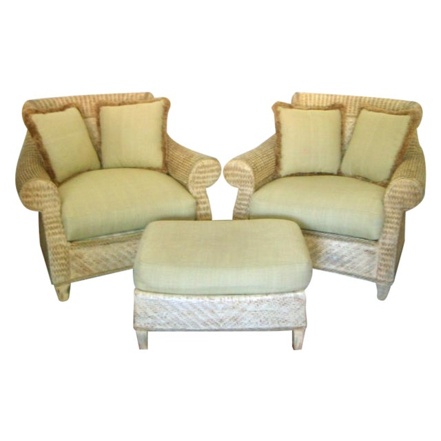 Oversized Wicker Arm Chairs & Ottoman - a Pair For Sale