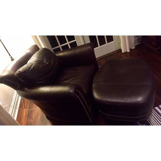 Ferguson Copeland Surrey Leather Chair & Ottoman For Sale - Image 9 of 10