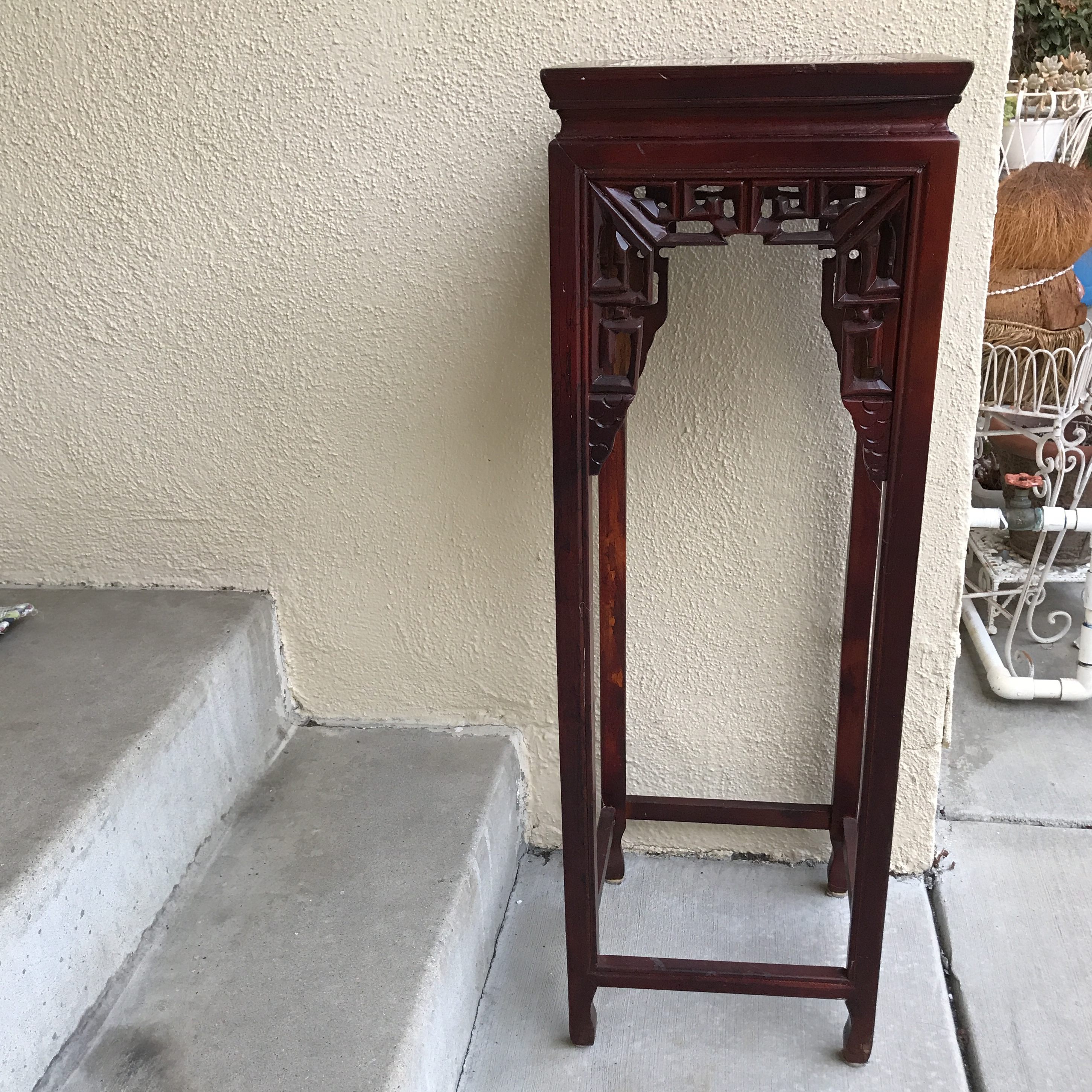Vintage Asian Cherry Wood Plant Stand   Image 3 Of 11