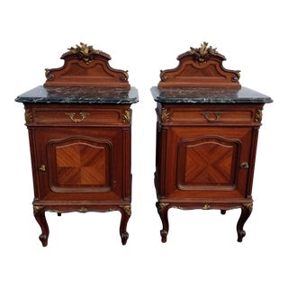 Pair Antique 19th Century French Rococo Louis XVI Ornate Marble Nightstands For Sale