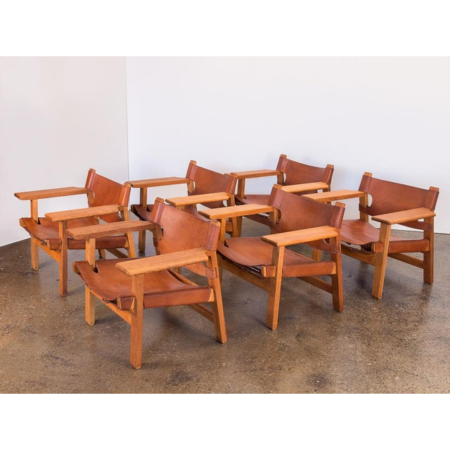 Gold Pair of Borge Mogensen Spanish Chairs for Fredericia Stolefabrik For Sale - Image 8 of 13