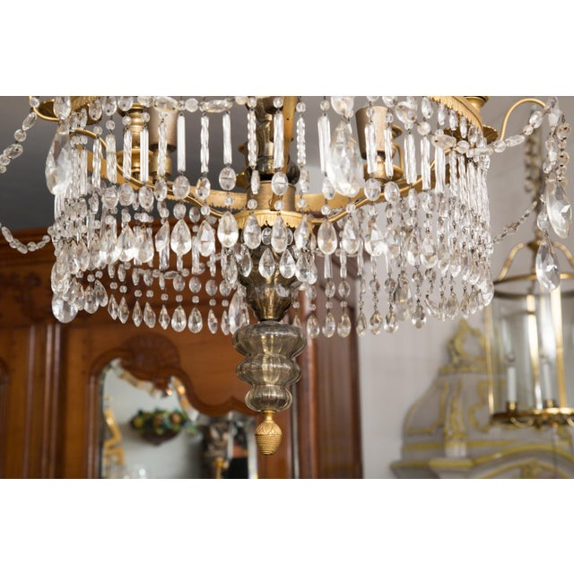 Empire 19th Century Gilt Metal and Crystal Baltic Chandelier For Sale - Image 3 of 13
