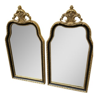 Vintage Black & Gold Hollywood Regency Mirror - a Pair For Sale