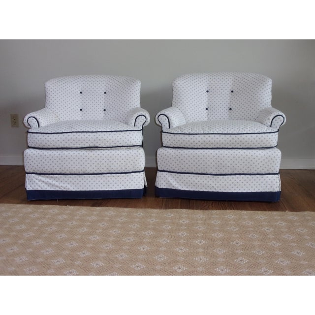 Custom Swivel Chairs, White & Navy, Pair For Sale - Image 10 of 10