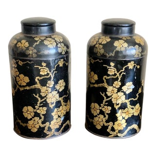 Antique Black Gold Chinoiserie Tole Tea Canisters- a Pair For Sale