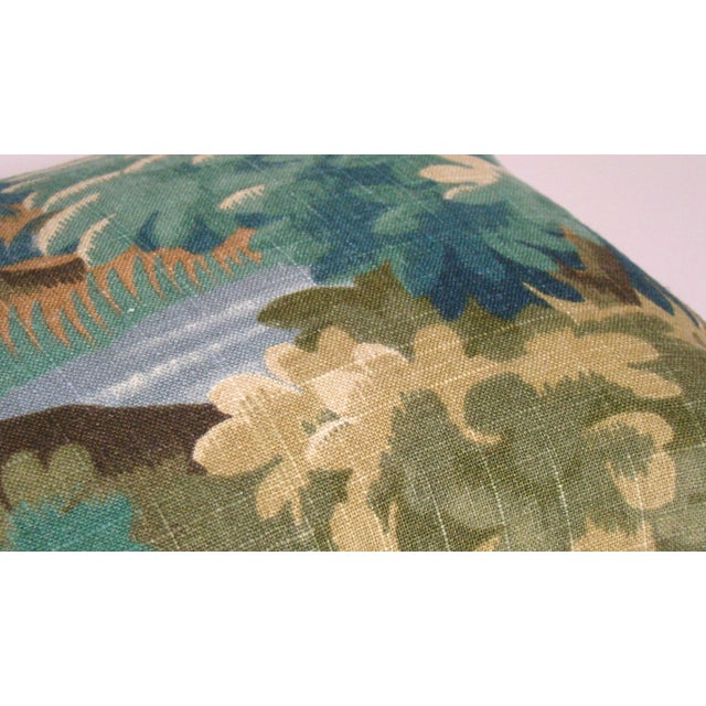 2020s Verdure Print Linen Lumbar Pillow Cover For Sale - Image 5 of 9