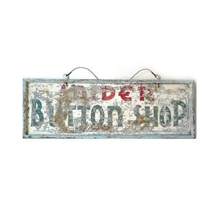 Vintage Galvanized Metal Button Shop Signage For Sale