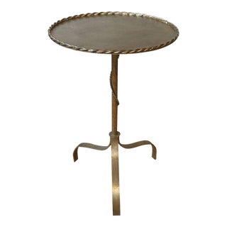 Spanish Gilt Iron Drinks Table With Braided Rope Detail For Sale