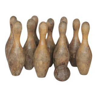 Antique Wood Bowling Set - Set of 11 For Sale