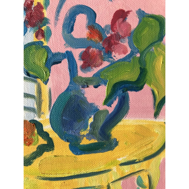 Contemporary The Yellow Table Impressionist Painting 1990s For Sale - Image 3 of 9