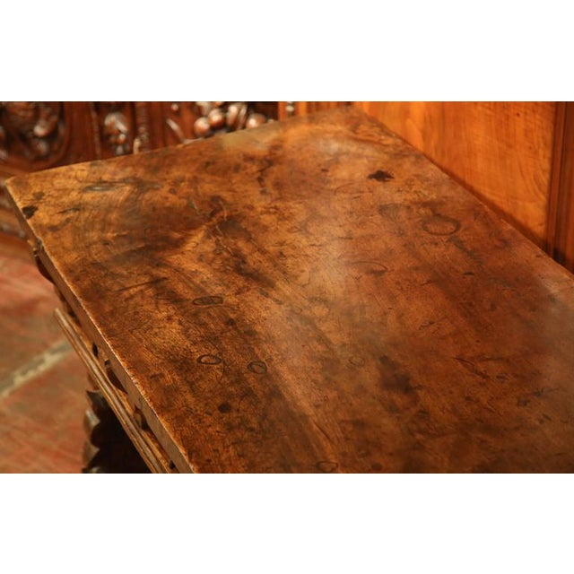 18th Century Spanish Carved Walnut Table Desk For Sale - Image 9 of 10