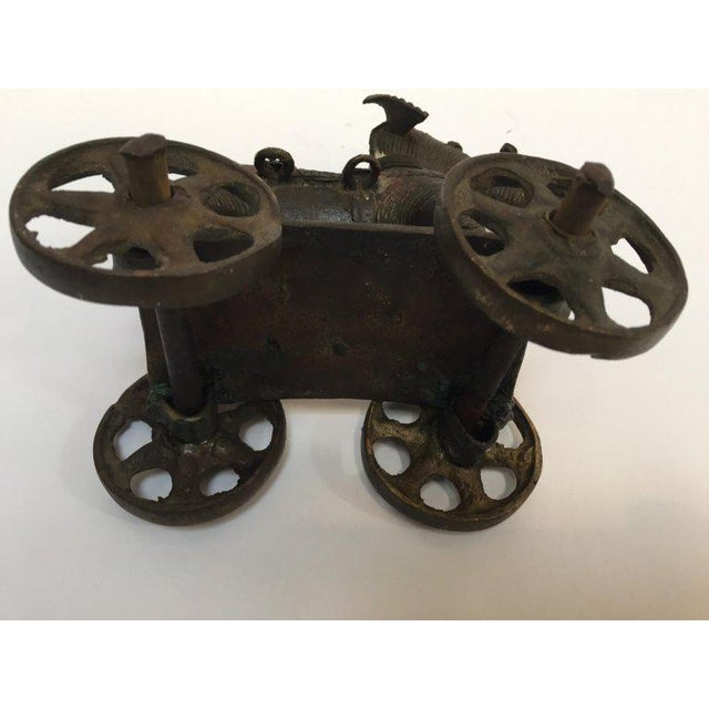 Antique Cast Bronze Temple Toy Elephant on Wheels India For Sale - Image 11 of 13