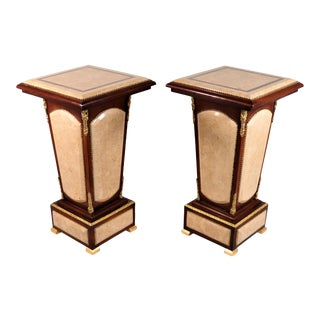 Pair of French Louis XVI Style Granite Pedestals With Ormolu Trim For Sale