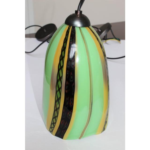 Art Deco Oggetti Luce Art Deco Venetian Mouth Blown Glass Pendant Light For Sale - Image 3 of 7
