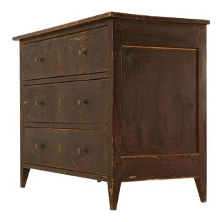 Original Early 1800's Antique Faux Grained Painted Pine 3 Drawer Commode For Sale