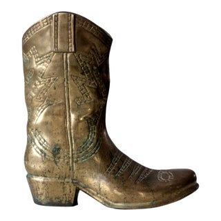 Mid-Century Brass Cowboy Boot Statue For Sale