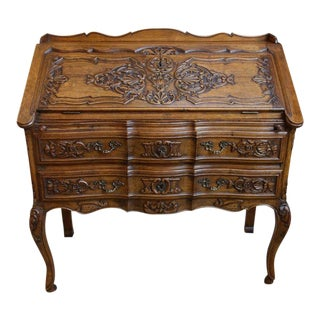 Antique French Carved Dark Oak Secretary Desk For Sale