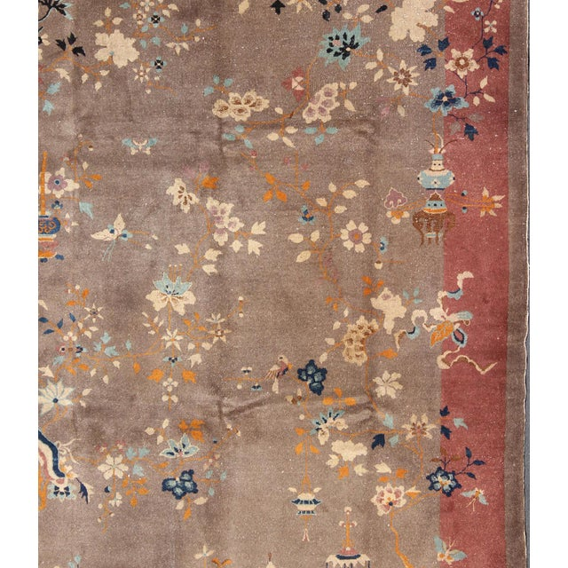 1920s Vintage Chinese Art Deco Rug - 9′ × 11′8″ For Sale - Image 4 of 11