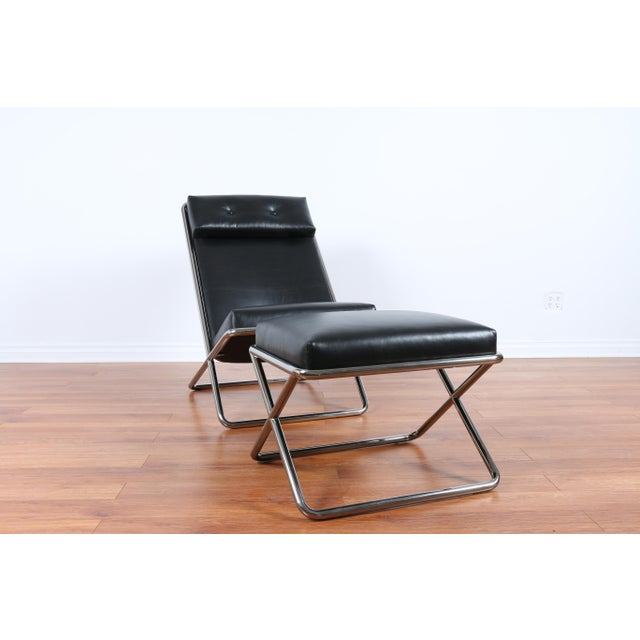 Mid-Century Modern Ward Bennet Style Chrome and Leather Lounge Chair For Sale - Image 3 of 8