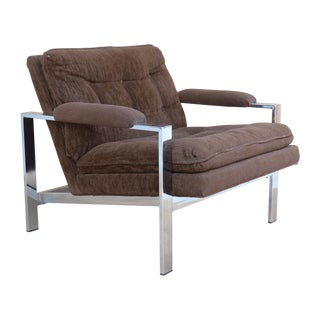 Polished Steel Club Chair with Brown Fabric For Sale