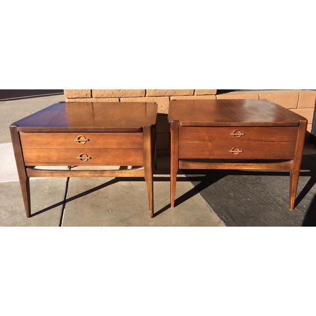 1960s Vintage Basset Walnut End Tables-a Pair For Sale - Image 9 of 9