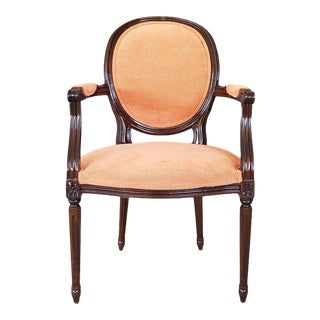 Louis XVI Velvet Upholstery Arm Chair For Sale