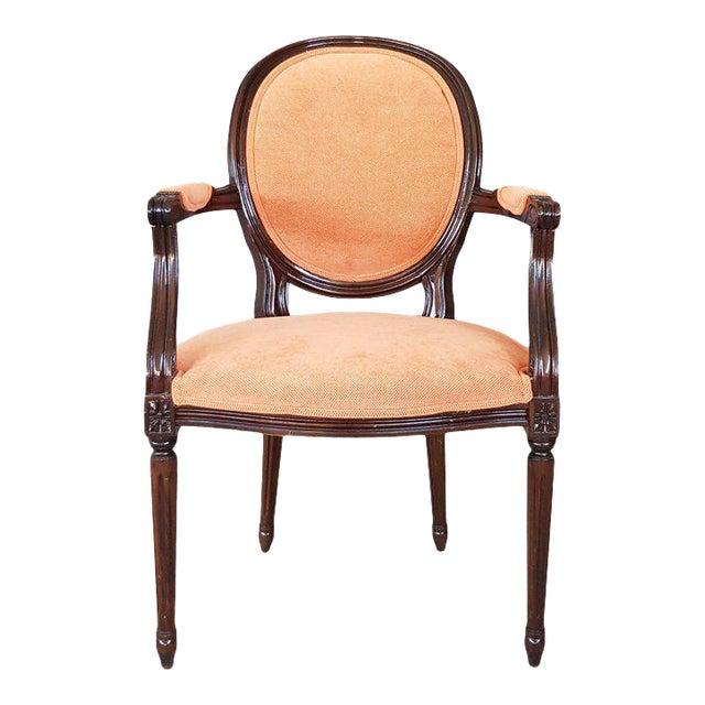 Louis XVI Velvet Upholstery Arm Chair For Sale