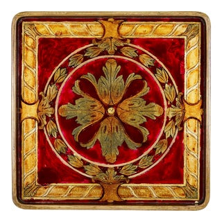 Verre Eglomise Hand Painted Square Serving Tray For Sale