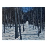 """Image of Stephen Remick """"Moonlit Snowy Path"""" Contemporary Painting For Sale"""