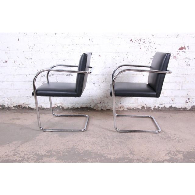 Knoll International Mies Van Der Rohe for Knoll Black Leather and Chrome Brno Chairs - a Pair For Sale - Image 4 of 7