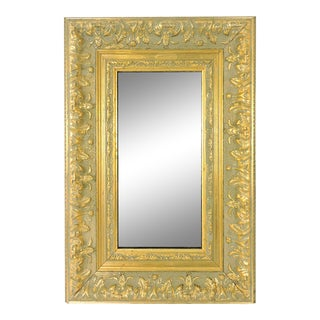 Vintage Rectangular Framed Foiliate Gold Wall Mirror For Sale