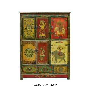 Chinese Tibetan Jewel Flower Elephant Deity Graphic Tall Credenza Cabinet Preview