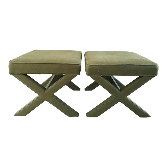 Jonathan Adler X-Bench Green Ottomans - a Pair - Image 1 of 3