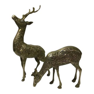 Solid Brass Deer Figures - A Pair For Sale