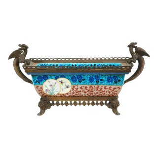 French Enameled Porcelain / Bronze Mounted Framed Centerpiece For Sale