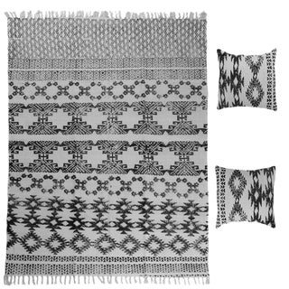Batik White and Black Cotton Rug and Pillow Set - 3 Pieces For Sale
