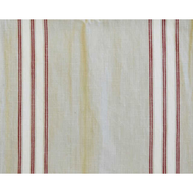 French Farmhouse Red White Cream Striped Table Runner 110 Long