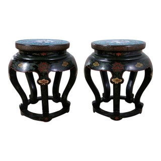 Chinese Cloisonné and Black Lacquered Round Stools or Side Tables - A Pair For Sale