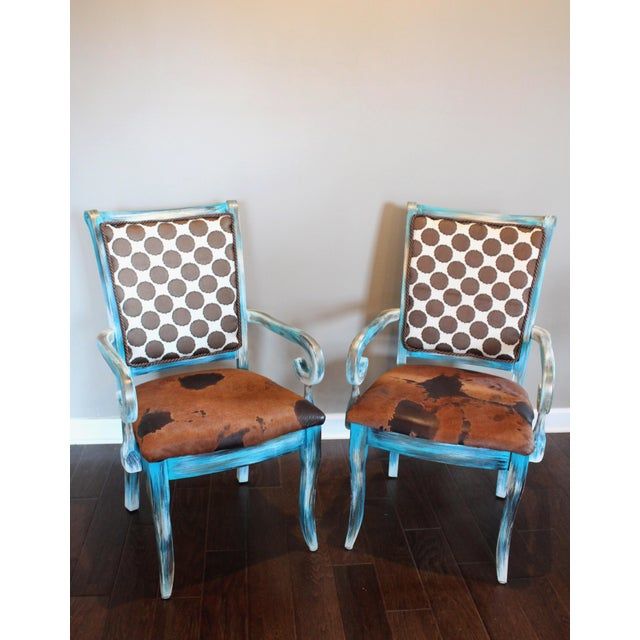 Poky Hide Designer Arm Chairs - Set of 2 - Image 2 of 9