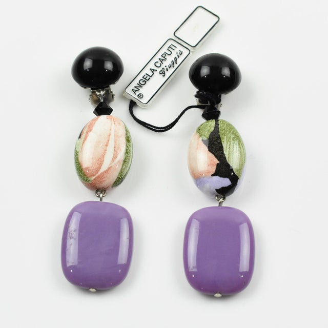 Contemporary Angela Caputi Dangling Resin Clip on Earrings Purple and Floral For Sale - Image 3 of 6
