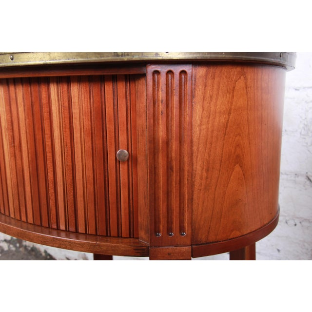 Brown Baker Furniture French Regency Cherry and Brass Tambour Door Nightstands, Pair For Sale - Image 8 of 13